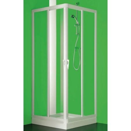BOX ANGOLO SKIPPER VELA PROFILO BIANCO ANGOLO A 4 ANTE CM 65/70-85/90 CRISTALLO TRASPARENTE FORTE BS109100501